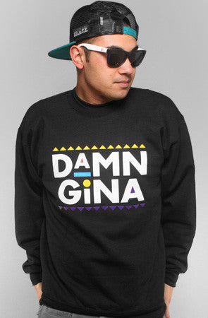 Damn Gina (Men's Black Crewneck Sweatshirt)