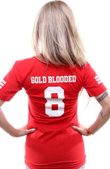 Gold Blooded Legends :: 8 (Women's Red V-Neck)