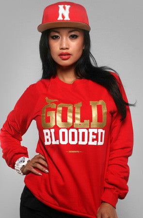 GOLD BLOODED Women's Red/Gold Crewneck Sweatshirt
