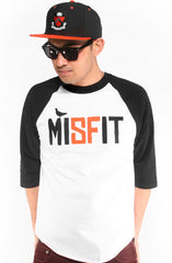 Misfit (Men's White/Black Raglan Tee)