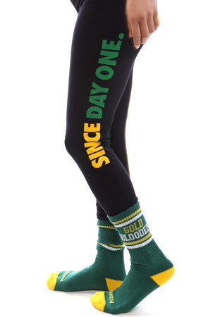 Since Day One (Women's Black/Green Leggings)