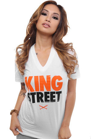 King Street (Women's White V-Neck)