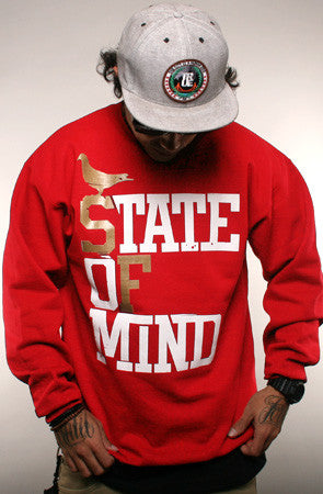 State of Mind (Men's Red/Gold Crewneck Sweatshirt)