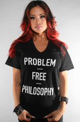 Problem Free (Women's Black V-Neck)