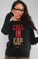 Colin Kaepernick X Adapt :: Call In Kap (Women's Black Crewneck Sweatshirt)