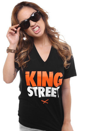 King Street (Women's Black V-Neck)