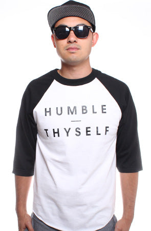 Humble Thyself (Men's White/Black Raglan Tee)