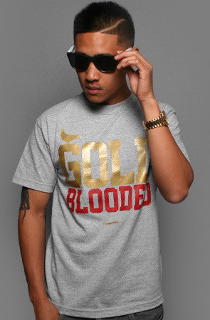 GOLD BLOODED Men's Heather/Red Tee