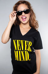 Never Mind (Women's Black V-Neck)