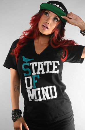 State of Mind (Women's Black/Teal V-Neck)