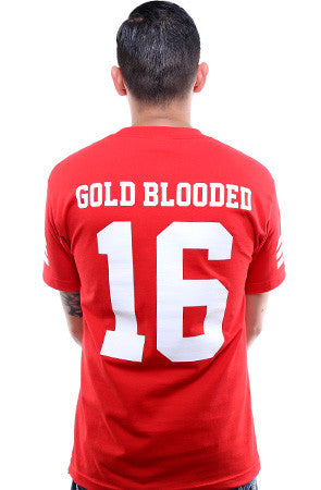 Gold Blooded Legends :: 16 (Men's Red Tee)
