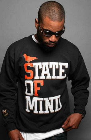 State of Mind :: World Champs Edition (Men's Black/Orange/Gold Crewneck Sweatshirt)
