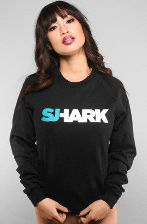 Breezy Excursion X Adapt :: Shark (Women's Black Crewneck Sweatshirt)