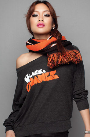 Black and Orange (Women's Dark Charcoal/Orange Wide-Neck Pullover)