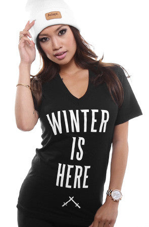 Winter Is Here (Women's Black V-Neck)