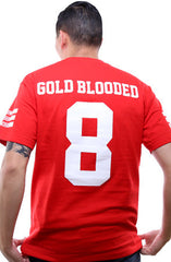 Gold Blooded Legends :: 8 (Men's Red Tee)
