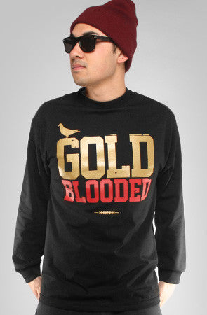GOLD BLOODED Men's Black/Red Long Sleeve Tee