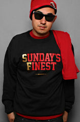 Sunday's Finest (Men's Black/Gold Crewneck Sweatshirt)