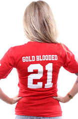 Gold Blooded Legends :: 21 (Women's Red V-Neck)