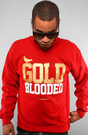 GOLD BLOODED Men's Red/Gold Crewneck Sweatshirt