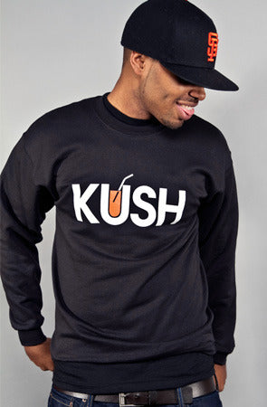 KUSH x OJ (Men's Black Crewneck Sweatshirt)