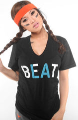 Beat LA (Women's Black/Teal V-Neck)