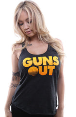 Guns Out (Women's Black Racerback Tank)