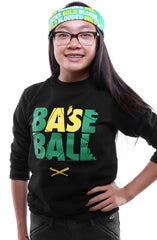 Baseball (Youth Unisex Black Crewneck)