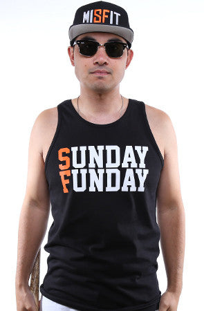 Sunday Funday (Men's Black/Orange Tank)