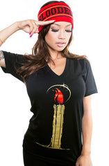 Candlestick (Women's Black V-Neck)