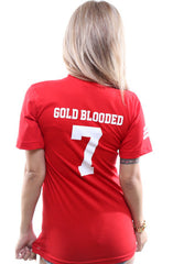 Gold Blooded Legends :: 7 (Women's Red V-Neck)