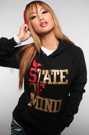State of Mind (Women's Black/Red/Gold Hoody)