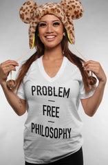 Problem Free (Women's White V-Neck)