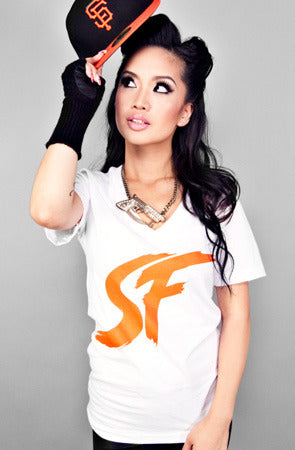 ES EF (Women's White/Orange V-Neck)