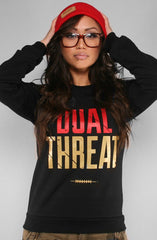 Colin Kaepernick X Adapt :: Dual Threat (Women's Black Crewneck Sweatshirt)