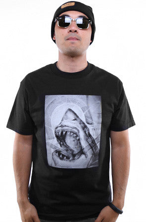 Cukui X Adapt :: Shark Sketch (Men's Black Tee)
