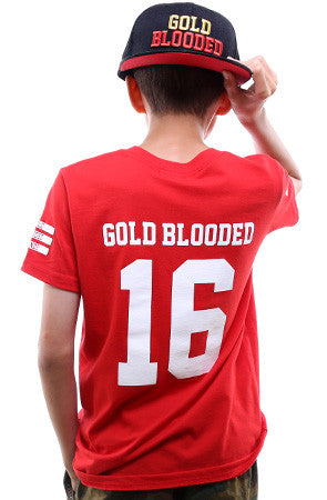 Gold Blooded Legends :: 16 (Youth Unisex Red Tee)