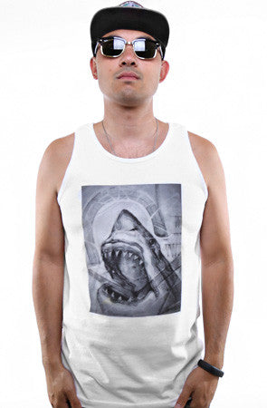 Cukui X Adapt :: Shark Sketch (Men's White Tank)