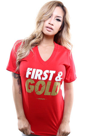 First and Gold (Women's Red V-Neck)