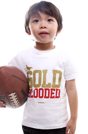 Gold Blooded (Tykes Unisex White Tee)