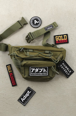 Tony (Military Green Waist Pack / Travel Bag + Patch Bundle)