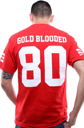Gold Blooded Legends :: 80 (Men's Red Tee)