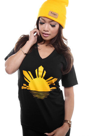 Ashley Vee x Adapt :: Sunrise :: Typhoon Haiyan Relief Tee (Women's Black V-Neck)