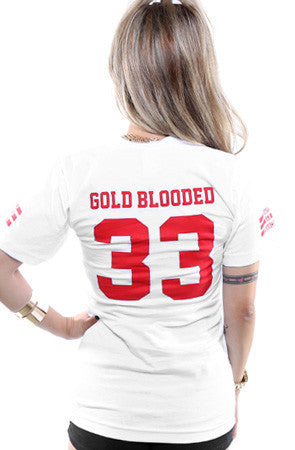 Gold Blooded Legends :: 33 (Women's White V-Neck)