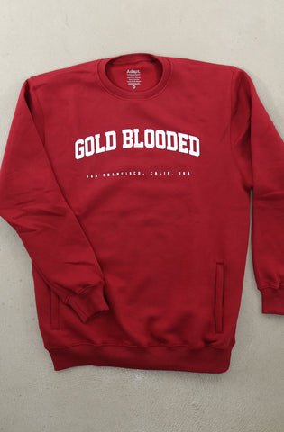 Gold Blooded League (Men's Cardinal Crewneck Sweatshirt)