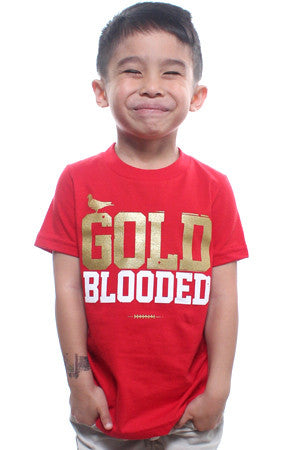 Gold Blooded (Tykes Unisex Red Tee)
