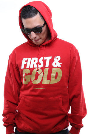 First and Gold (Men's Red/Gold Hoody)