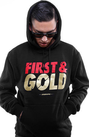 First and Gold (Men's Black/Gold Hoody)