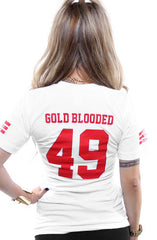 Gold Blooded Legends :: 49 (Women's White V-Neck)