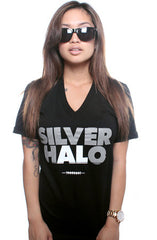 Silver Halo (Women's Black V-Neck)
